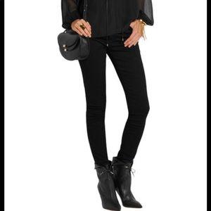 Aquazzura black leather tie-up ankle bootie. 38.5